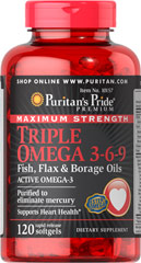 Omega 3-6-9 Flax, Fish, Borage 1200 mg 120 Softgels