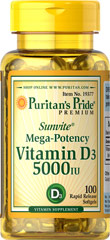 Vitamine D3 5000 I.U. 100 Softgels