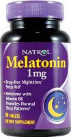 Melatoniini Natrol 1 mg 180 Tablettia